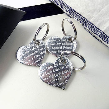 Friendship,Luck And Birthday Pocket Heart Keyrings