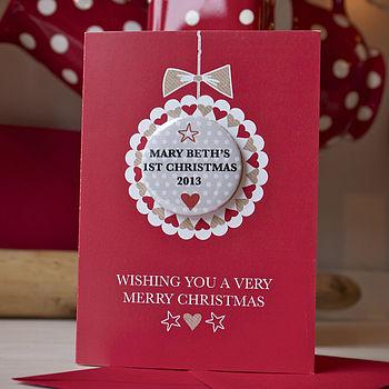 Personalised Ist Christmas Mini Magnet Card