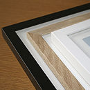 Black, Natural Oak and White Frames