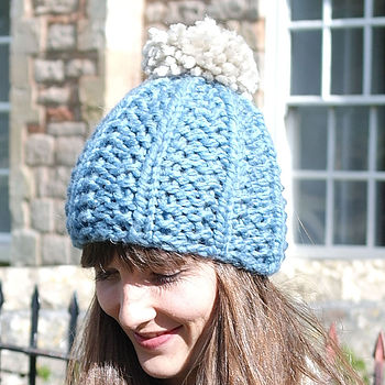 Chambray Blue Bobble Hat