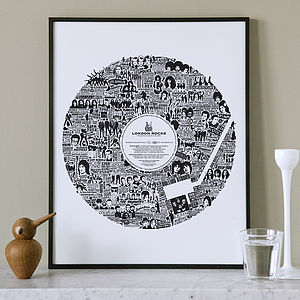 London Music Typographic Print - gifts for music fans