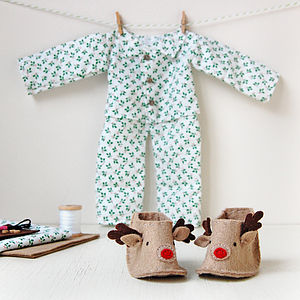Make Your Own Christmas Doll Pyjamas Kit - sewing kits