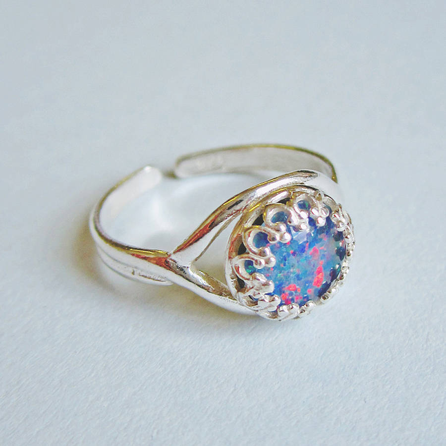 blue opal sterling silver ring by eclectic eccentricity