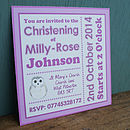 Personalised Pink Christening Invitations