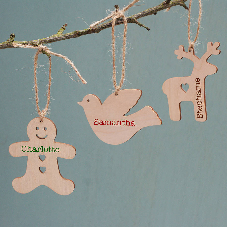 Personalised wooden christmas decoration by sparks living for Personalised christmas decorations