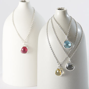 Silver Faceted Glass Raindrop Necklace
