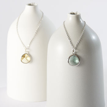 Silver Pear Drop Necklace