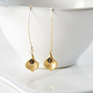Gold Plated Lily Drop Earrings - earrings