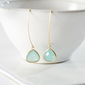 Gold Aventurine Long Drop Faceted Earrings - earrings