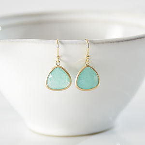 Little Gold Aventurine Faceted Earrings - earrings