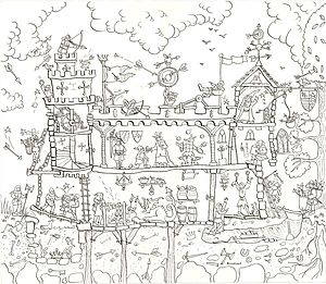 Medieval Castle Colouring In Poster - children's pictures & paintings