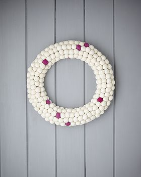 White And Hot Pink Felt Ball Wreath