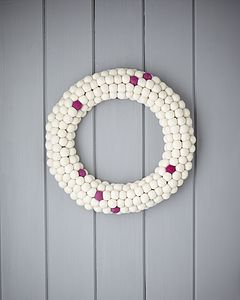 White And Hot Pink Felt Ball Wreath - flowers & plants