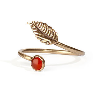 Antiqued Brass Leaf Ring - rings