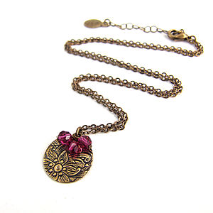 Antiqued Brass Floral Necklace - necklaces & pendants