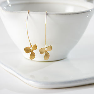 Gold Plated Orchid Drop Earrings - earrings