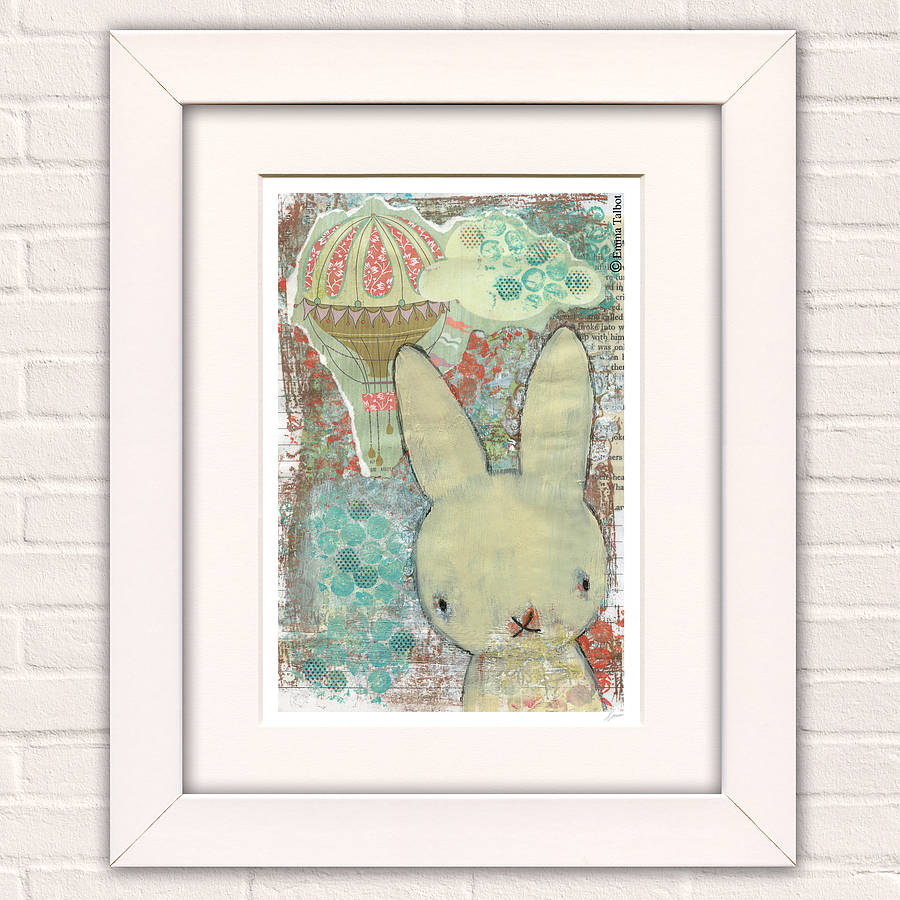 Children's Room Balloon And Rabbit Art Print 'Barnabe'