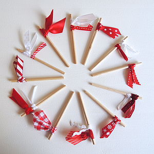 Set Of Twelve Chistmas Ribbon Cake Toppers