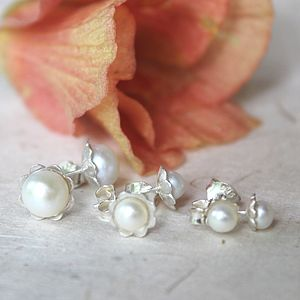 White Pearl And Silver Flower Stud Earrings