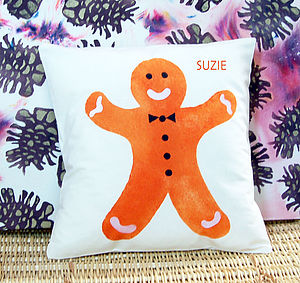 Personalised Christmas Gingerbread Cushion - cushions