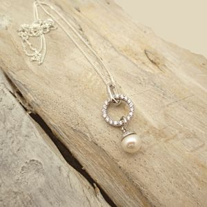 Cubic Zirconia Eternity Pendant Necklace