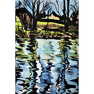 Blustery River Nene Original Painting - paintings & canvases