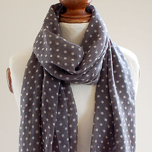 Dotty Grey Pure Wool Scarf - scarves