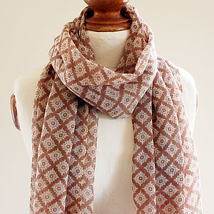 Brown Diamond Pure Wool Scarf