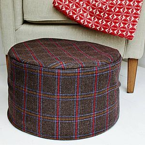 Charcoal Grey Check Wool Foot Pouffe - furniture
