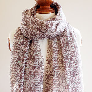 Brown Lace Pure Wool Scarf