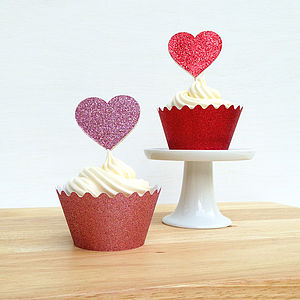 Sparkly Heart Cake Decorations