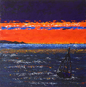 North Sea Sunset Original Painting On Canvas - home accessories