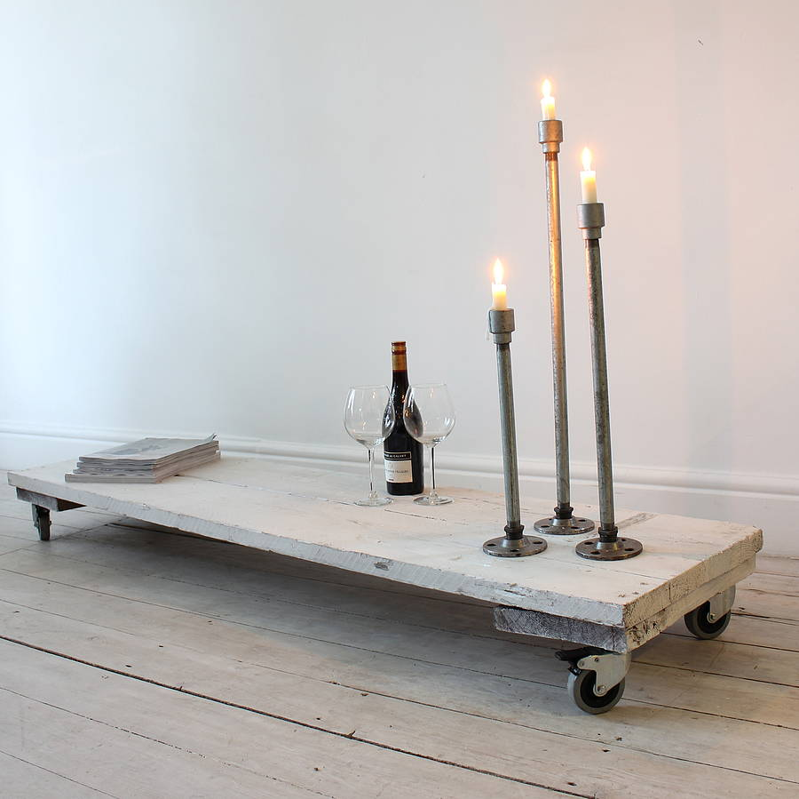 carla white reclaimed wood low table on castors by inspirit ...
