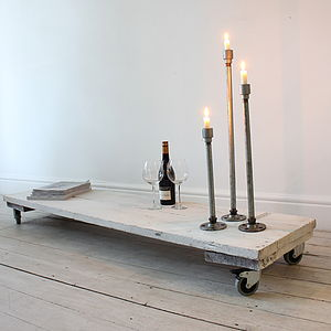 White Reclaimed Wood Low Table On Castors - furniture