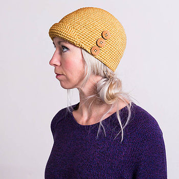 mustard yellow cloche hat