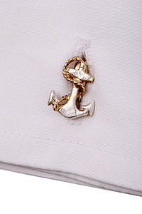 24 Carat Gold And Silver Anchor Cufflinks - men's jewellery