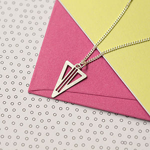Art Deco Geometric Triangle Charm Necklace - necklaces & pendants