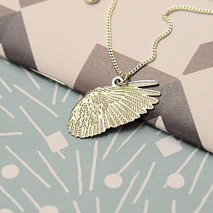Voler: Feathered Wing Charm Necklace