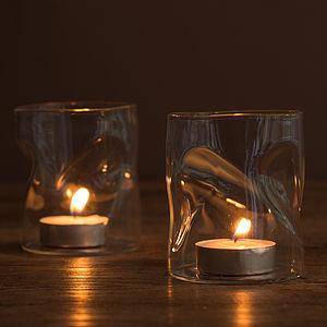 Set Of Two Wabi Sabi Glass Votives - candles & candlesticks