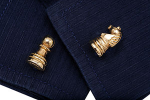Chess Pieces Cufflinks In 24 Ct Gold On Silver - cufflinks