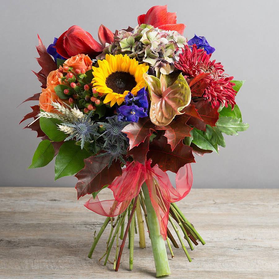 Luxury autumn burst flower bouquet by the flower studio for Picture of a bouquet of flowers