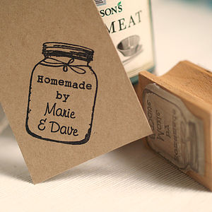 Personalised 'Homemade By' Jar Rubber Stamp - ribbon & wrap