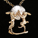 Gold And Silver Boxing Hares Pendant