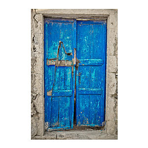 Santorini Blue Door Print - posters & prints
