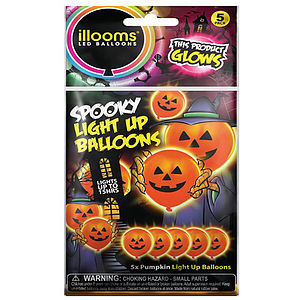 Halloween Pumpkin Light Up Balloons -5 Pk - children's parties