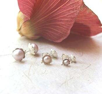 Pink Pearl And Silver Flower Earrings