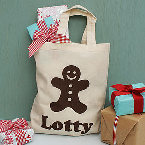 Personalised Gingerbread Man Christmas Shopper Bag - stockings & sacks