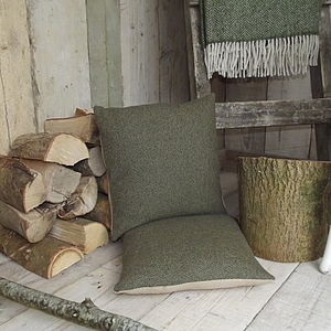 Forest Green Tweed And Linen Cushion - cushions