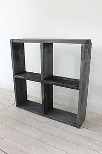 Reclaimed Black Scaffolding Display Cube - bookcases