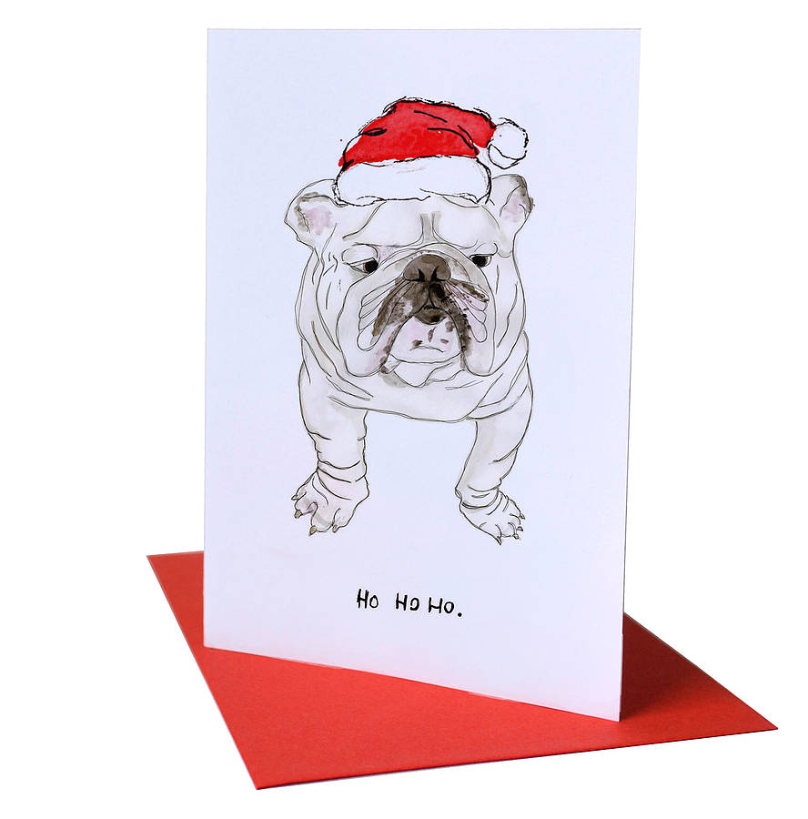 ho ho ho\' bulldog christmas card by blank inside ...